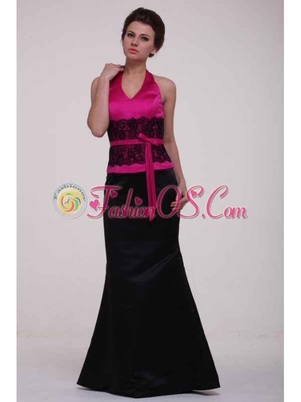 Column Hot Pink and Black Lace Satin Halter Top Prom Dress
