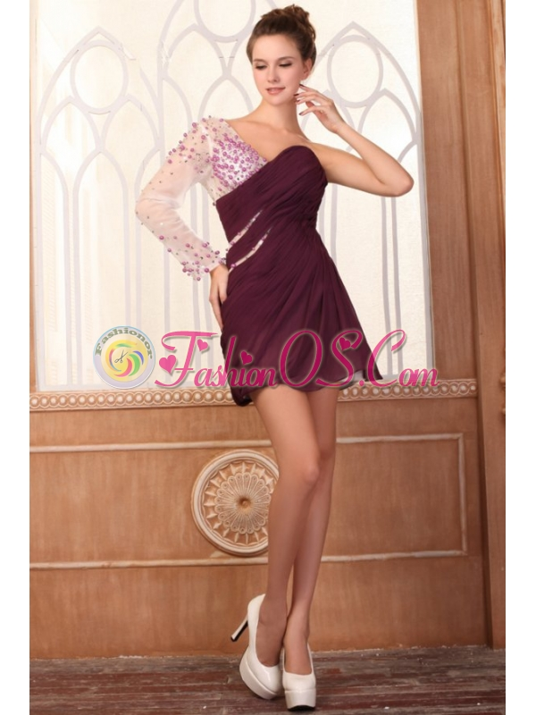 Column One Shoulder Beading Long Sleeves Chiffon Prom Dress