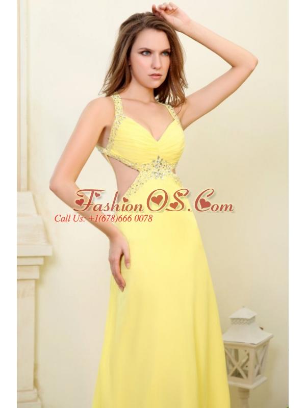 Column Straps Light Yellow Beading and Ruching  Prom Dress