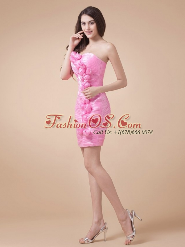 Cute Column Sweetheart Mini-length Ruching Taffeta Prom Dress
