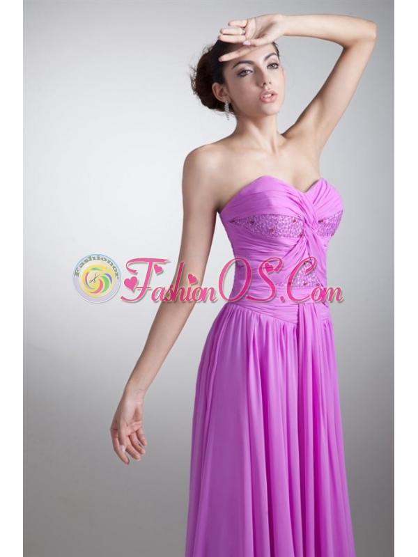 Elegant Empire Sweetheart Floor-length Lilac Beading Chiffon Prom Dress