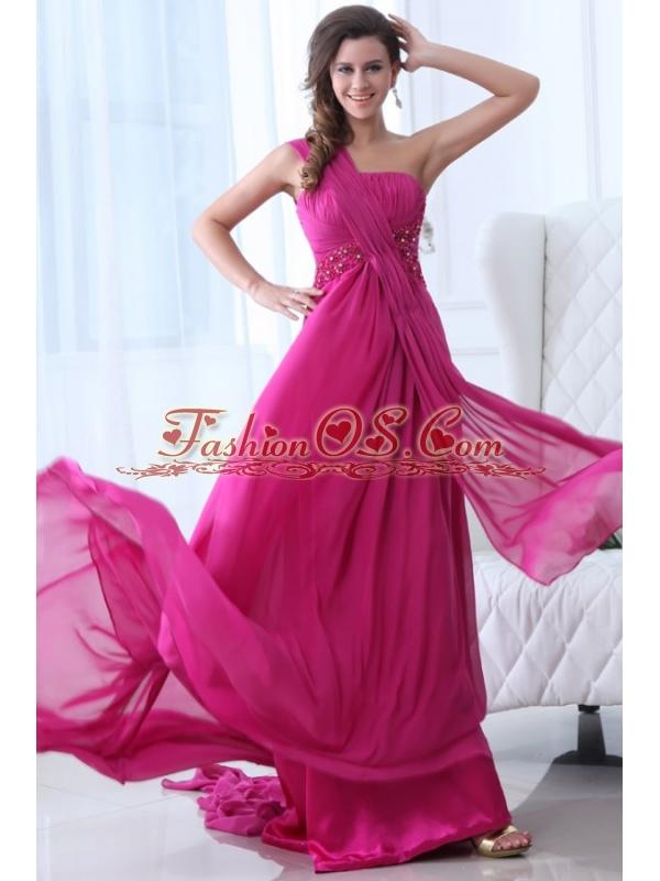 Empire Fuchsia Beading Ruching One Shoulder Prom Dress