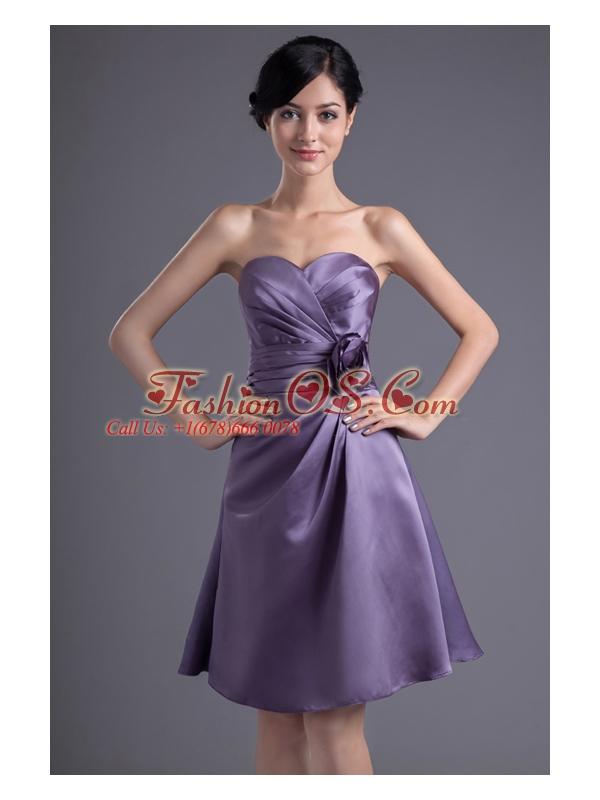Empire Hand Made Flower Sweetheart Purple Ruching Mini-length Prom Dress