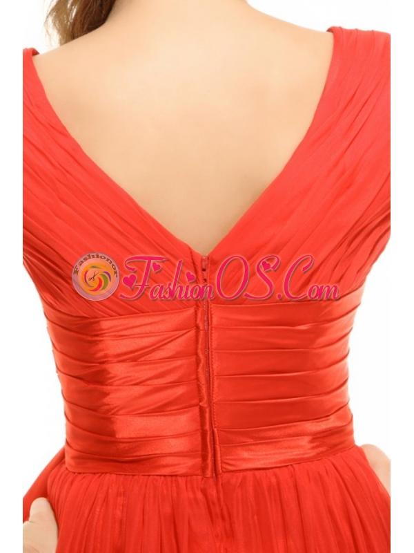 Empire  Red V-neck Ruching Chiffon Prom Dress