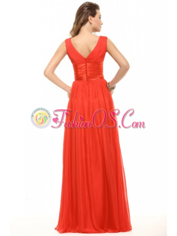 Empire  Red V-neck Ruching Chiffon Prom Dress