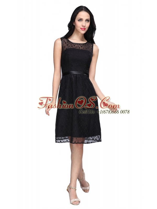 Empire Scoop Chiffon Knee-length Belt Prom Dress