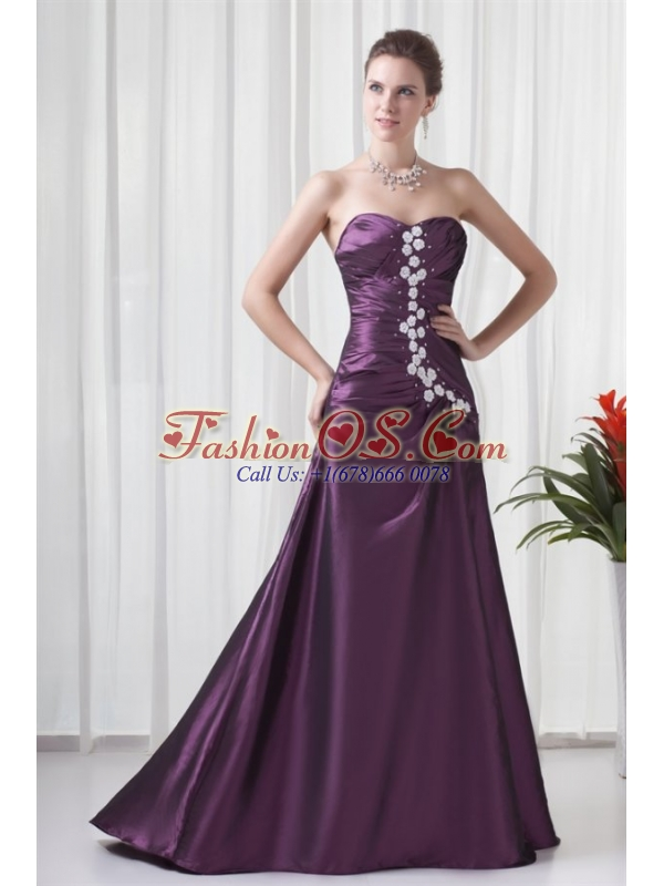 Empire Sweetheart Purple Appliques Long Lace Up Prom Dress