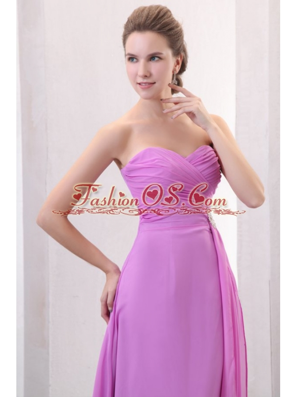 Lilac Empire Sweetheart Ruched Prom Dress with Brush Train