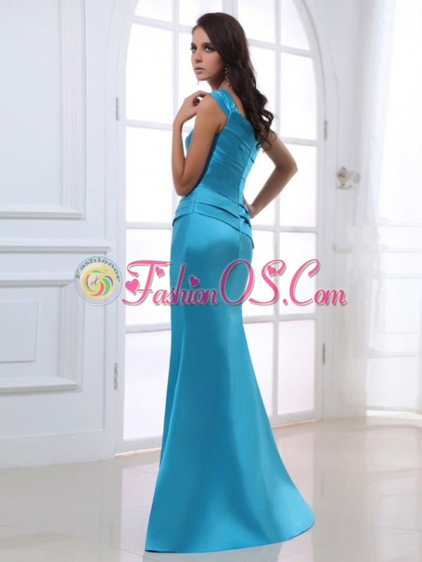 Mermaid One Shoulder Ruching Beading Blue Floor-length Prom Dress