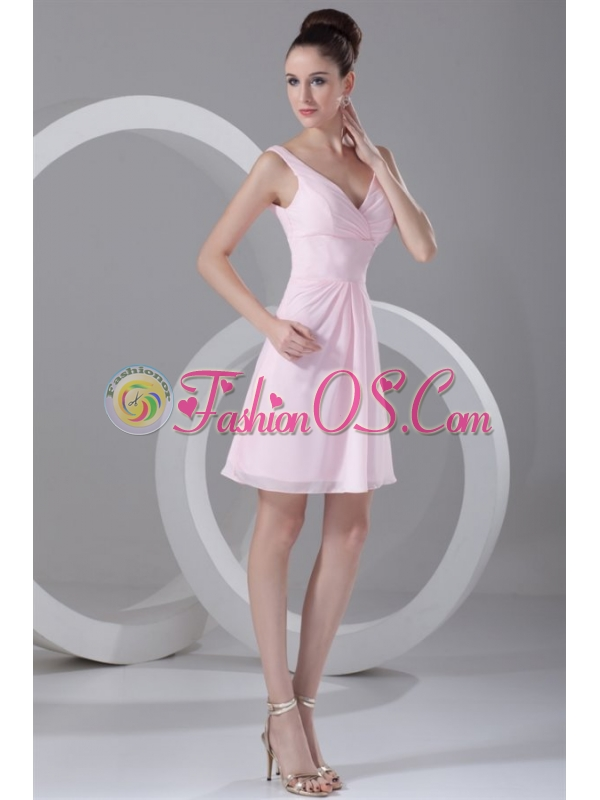 Pink A-line V-neck Mini-length Ruching Chiffon Prom Dress
