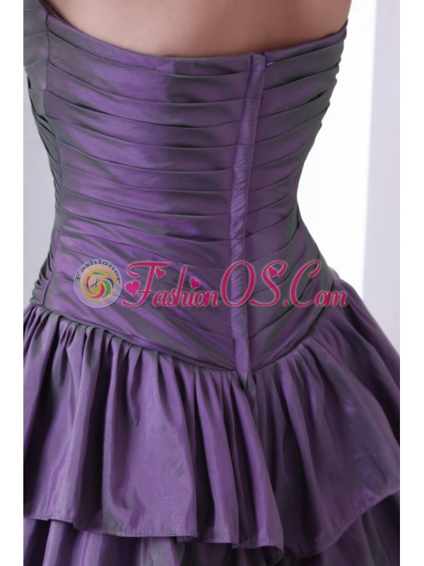 Purple Sweetheart Knee-length Prom Dress with Beading and Layers