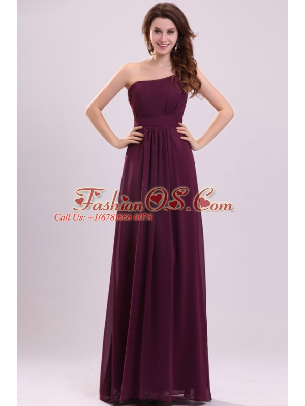 Simple Empire Ruching Purple Long Prom Dress One Shoulder