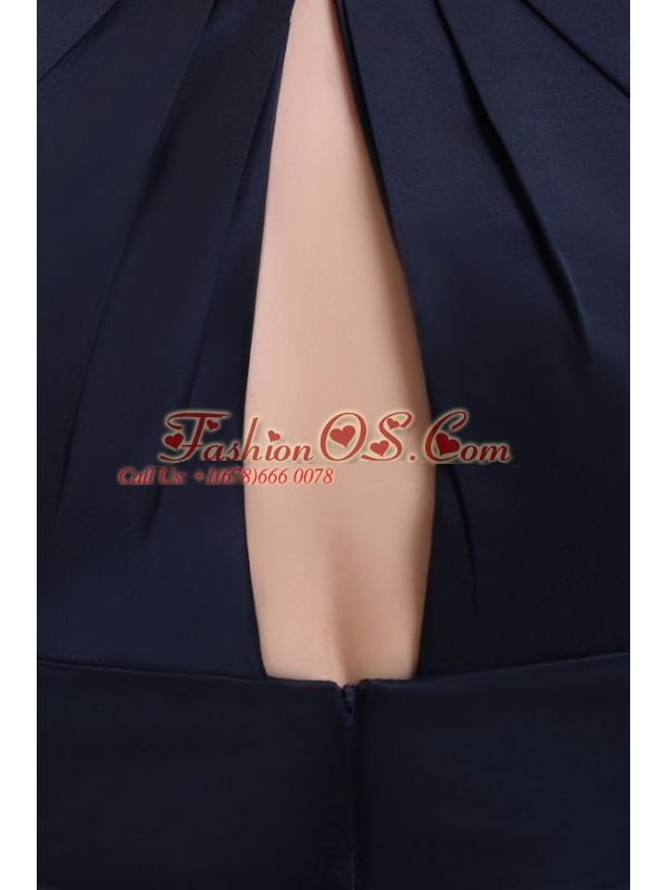 Simple Navy Blue Halter A-line Knee-length Ruching Taffeta Prom Dress