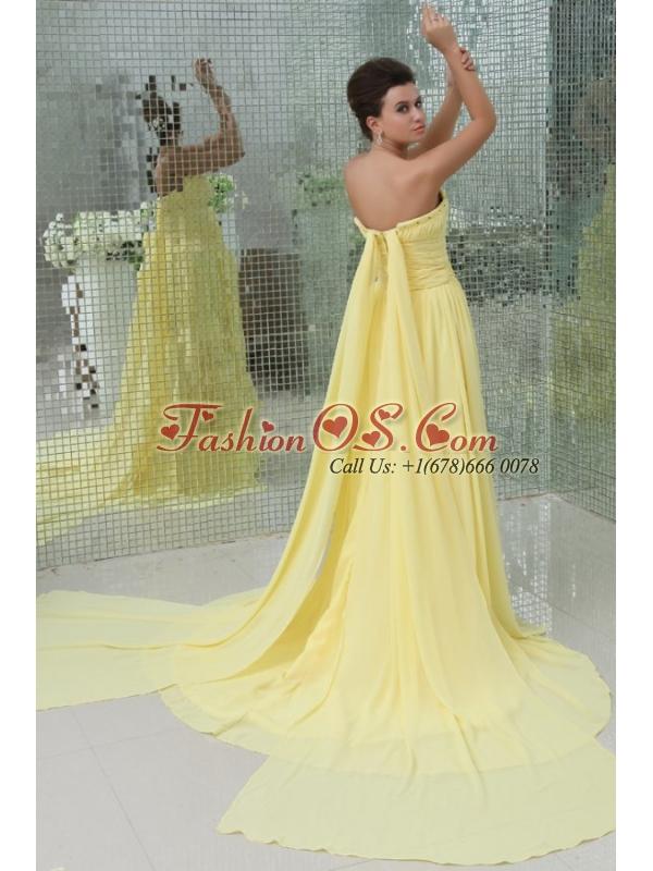 A-line Strapless Beading and Ruching Chiffon Light Yellow Prom Dress