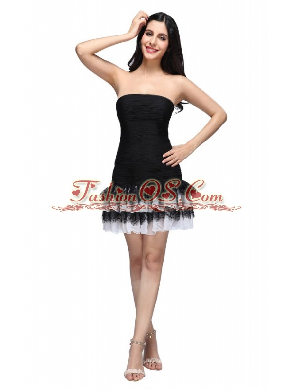 Column Black Strapless Ruching Ruffled Layers Mini-length Prom Dress