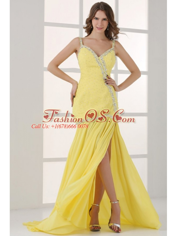 Yellow Straps Column Beaded Decorate and Silt Sweep Train Prom Dress