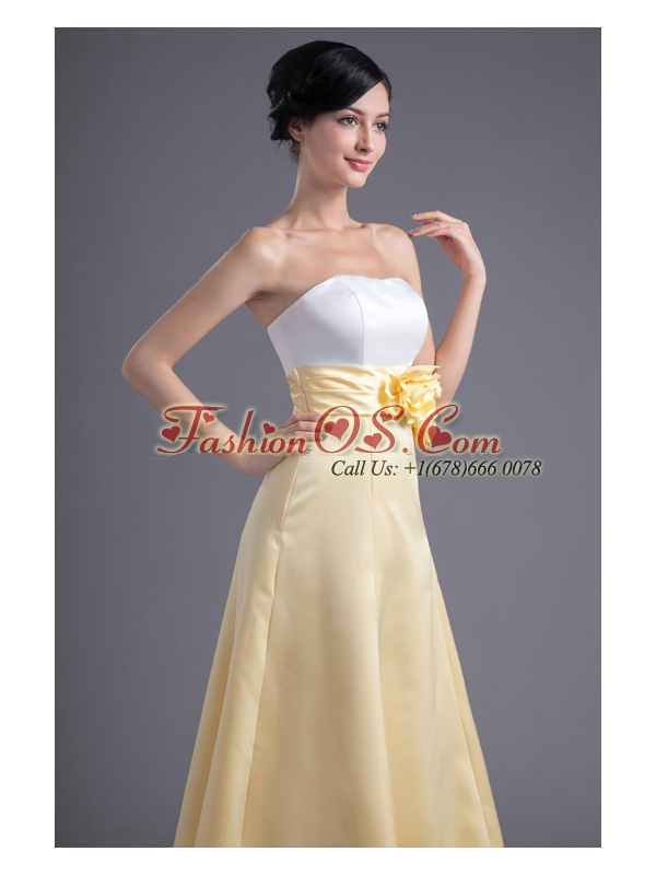 A-line Light Yellow Strapless Hand Made Flowers Ankle-length Prom Dress