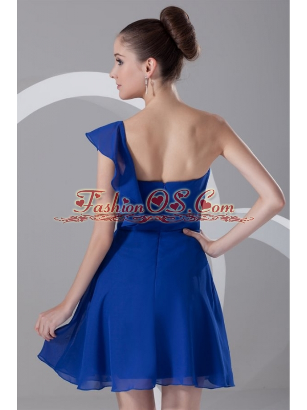 A-line One Shoulder Blue Chiffon Mini-length Ruching Prom Dress