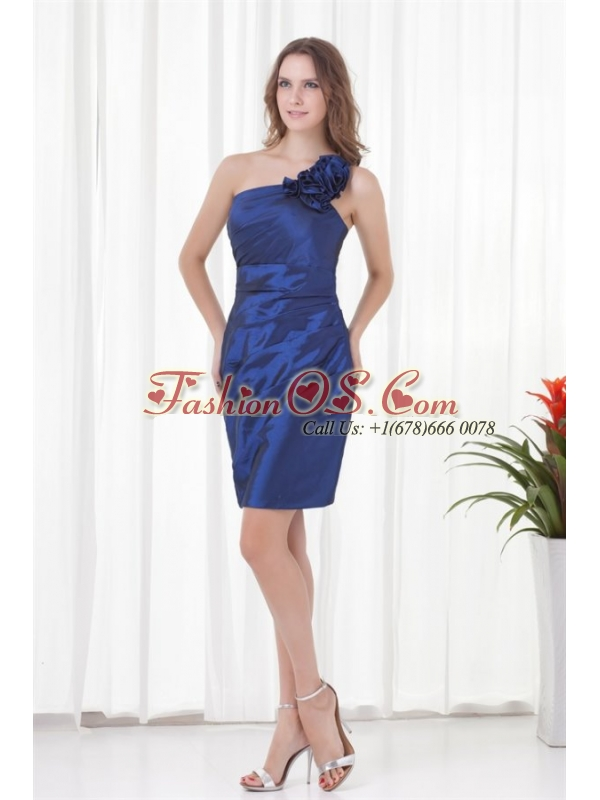 Cheap Column One Shoulder Mini-length Ruching Zipper Up Blue Prom Dress