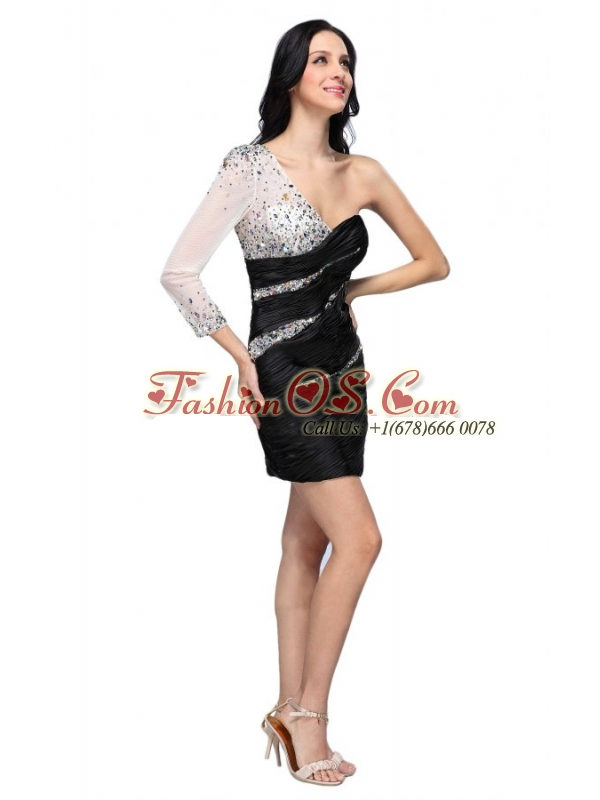 Column Black One Shoulder Long Sleeves Beading Mini-length Prom Dress