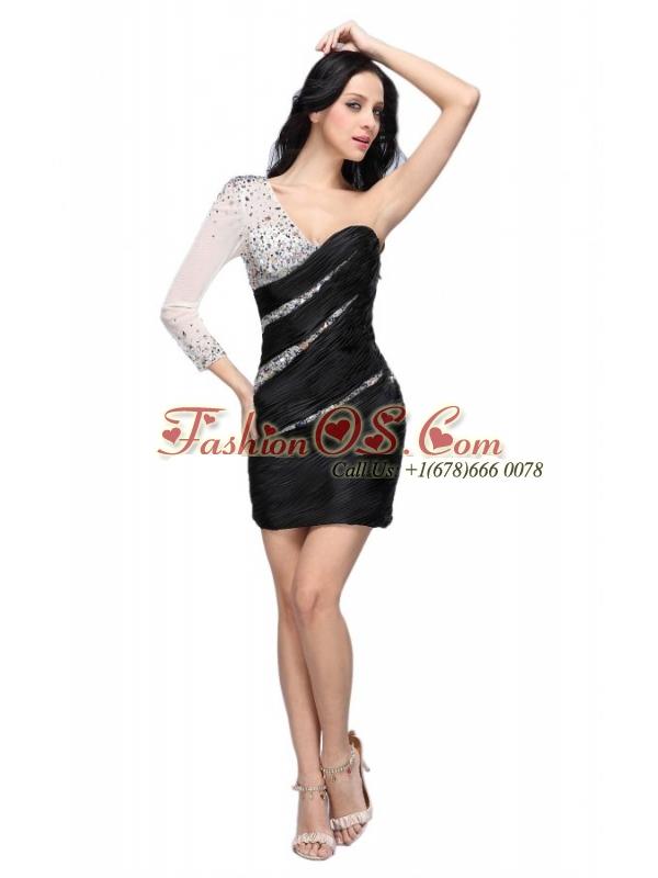 Column Black One Shoulder Long Sleeves Beading Mini-length Prom Dress