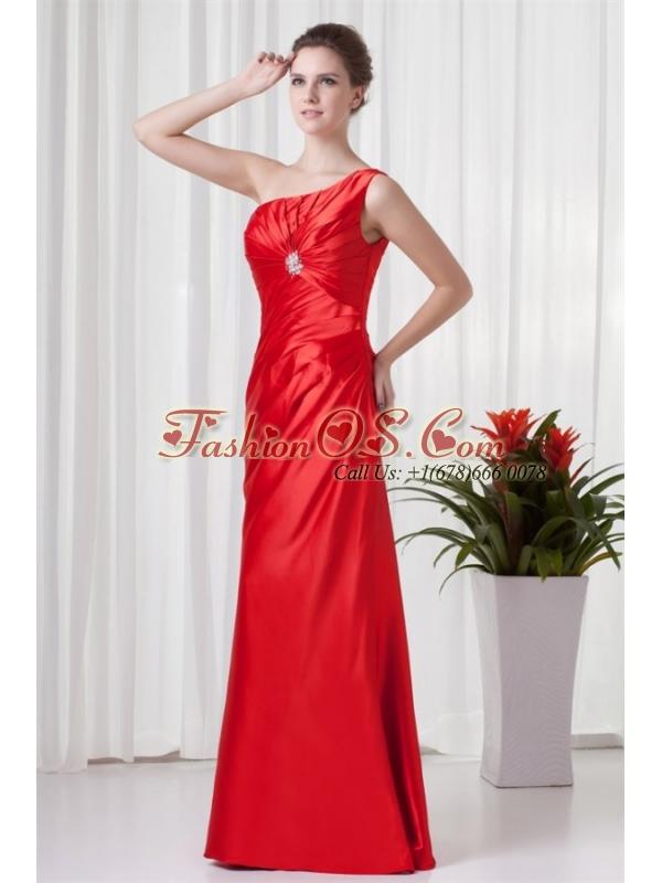 Column One Sholuder Red Taffeta Ruching Floor-length Prom Dress