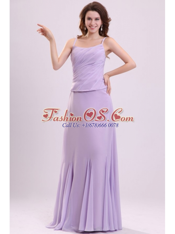 Column Straps Ruching Chiffon Floor length Lavender Prom Dress