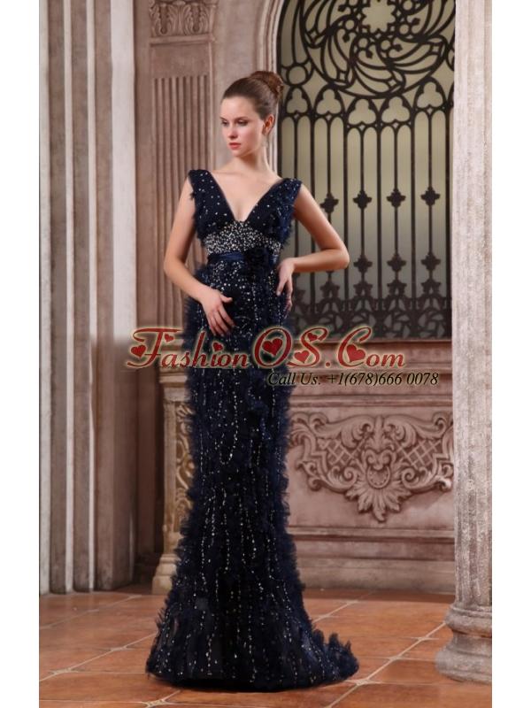 Column V-neck Navy Blue Brush Train Sequins Beading Prom Dress