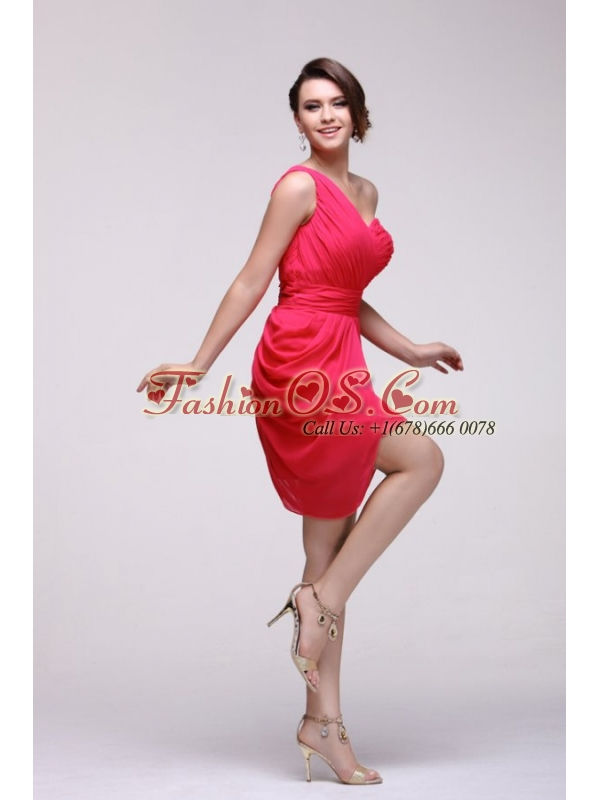 Coral Red One Shoulder Prom Dress with Ruches Mini-length