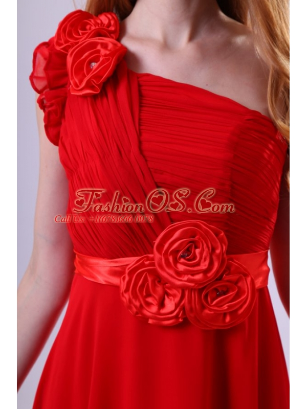 Discount Empire One Shoulder Red Ruching Chiffon Prom Dress