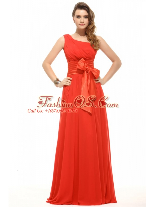 Empire Orange Red One Shoulder Bow Ruching Chiffon Prom Dress