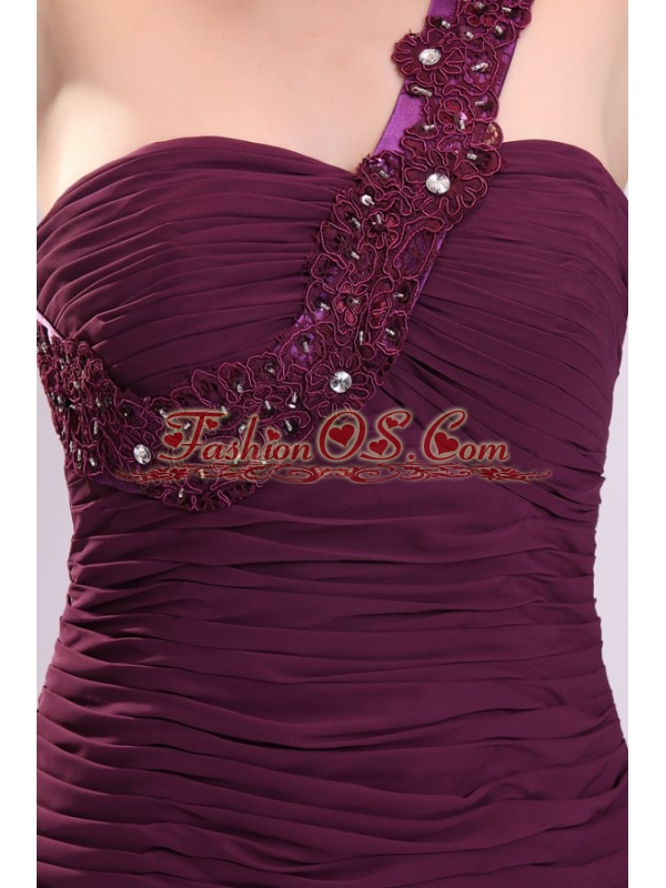 Short Column One Shoulder Prom Dress with Embroidery and Beading
