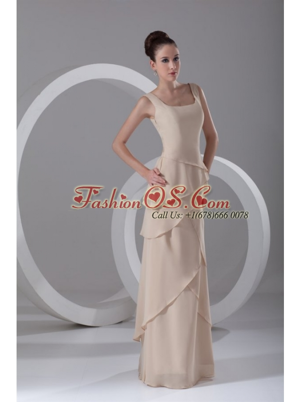 Simple Empire Champagne Square Chiffon Ruffles  Prom Dress with Side Zipper
