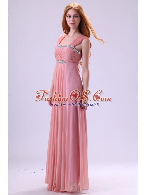 Simple Empire One Shoulder Beading and Ruching Chiffon Prom Dress