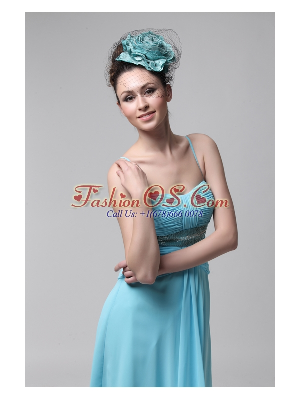 Sweet Strapless Knee-length Empire Blue Chiffon Prom Dress with Beading