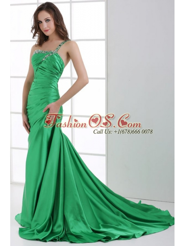 A-line Green One Shoulder Beading and Ruche Sweep Train Prom Dress