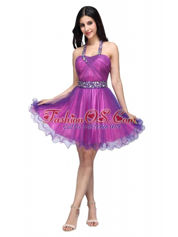A-line Halter Top Beading and Ruching Knee-length Purple Prom Dress