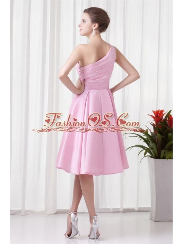 A-line Pink One Shoulder Knee-length Hand Made Flowers Prom Dress
