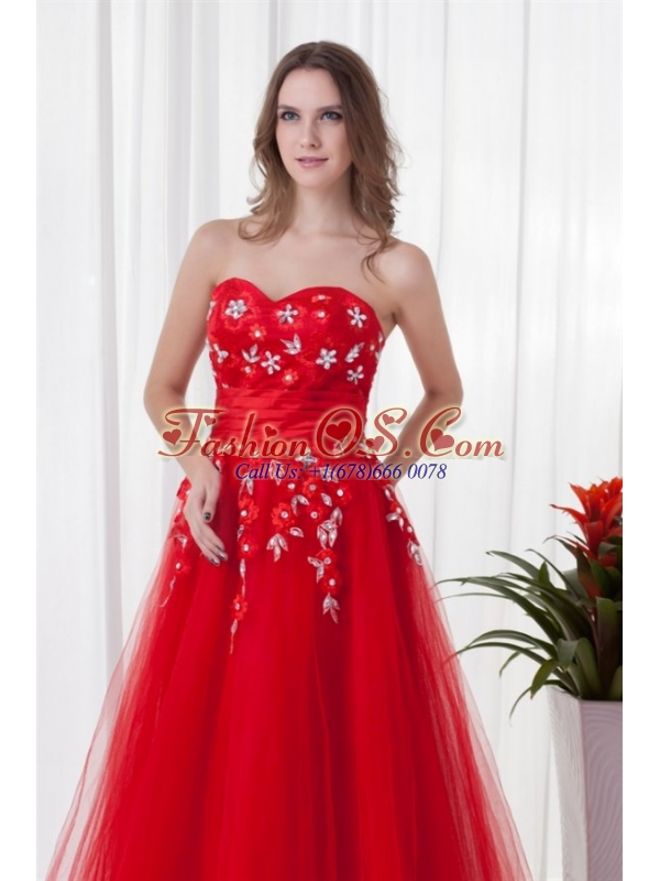 A-line Sweetheart Red Long Beading Tulle 2014 Prom Dress
