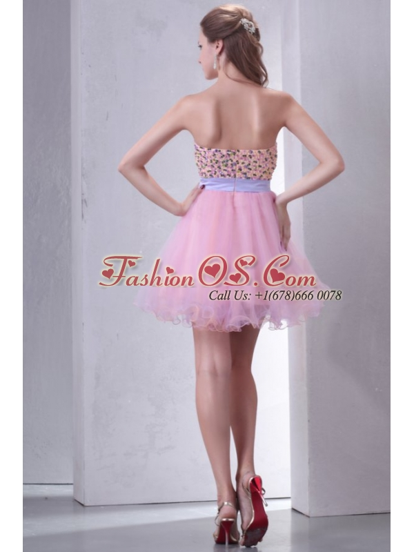 Beaded Decorate Brust Sweetheart Mini-length Baby Pink Prom Dress