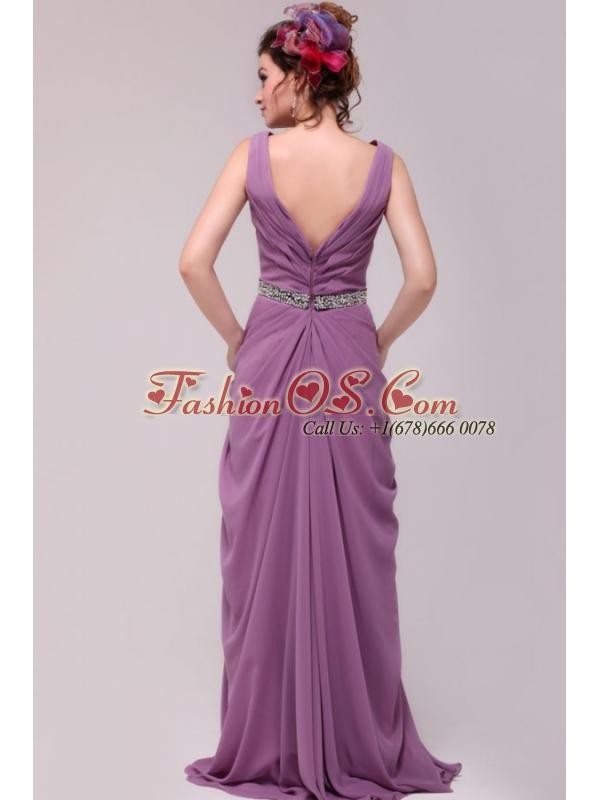 Beaded Decorate Waist V-neck Chiffon Lilac Prom Dress for Girls