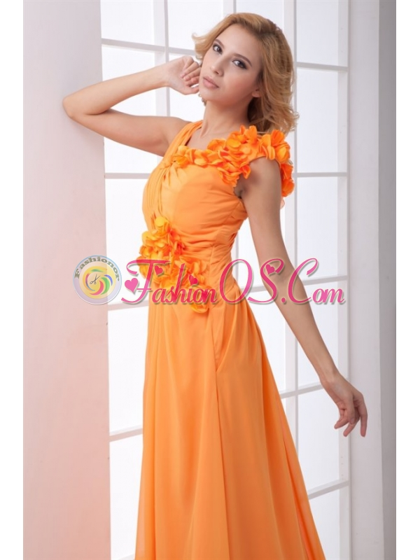 Cheap Empire V-neck Ruching Ankle-length Orange Chiffon Prom Dress