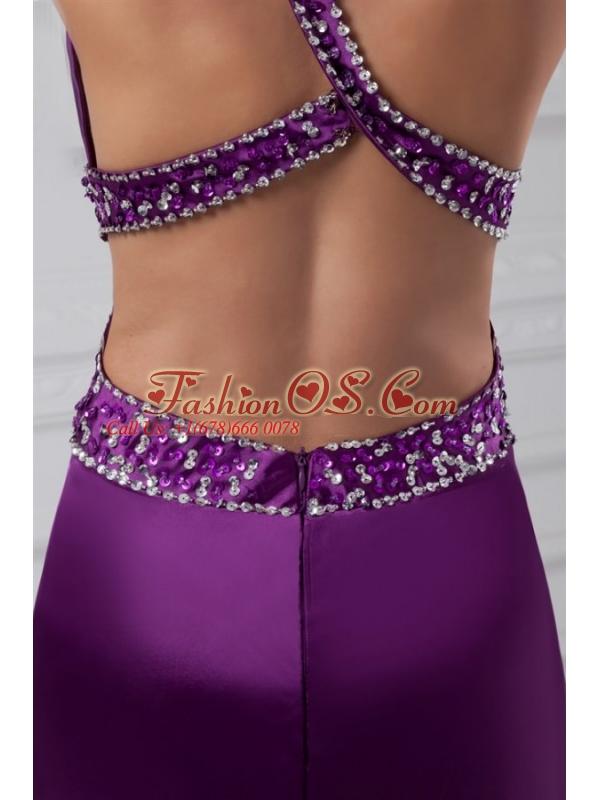 Column One Shoulder Brush Train Elastic Woven Satin Beading Purple Prom Dress