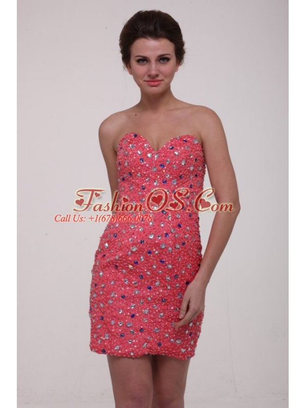 Column Watermelon Red Sweetheart Beading Chiffon Prom Dress