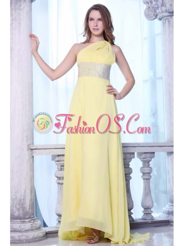 Empire One Shoulder Yellow Chiffon Beaded Decorate Waist Prom Dress