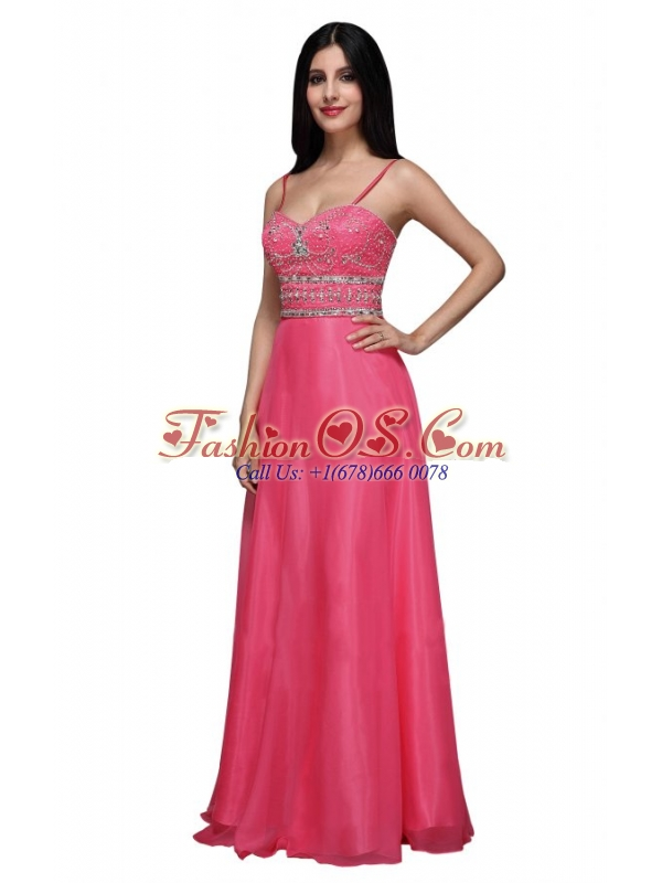 Empire Sweetheart Chiffon Hot Pink Beading and Ruching Prom Dress