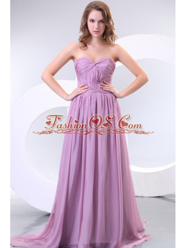 Empire Sweetheart Lilac Chiffon Ruche Prom Dress with Watteau Train