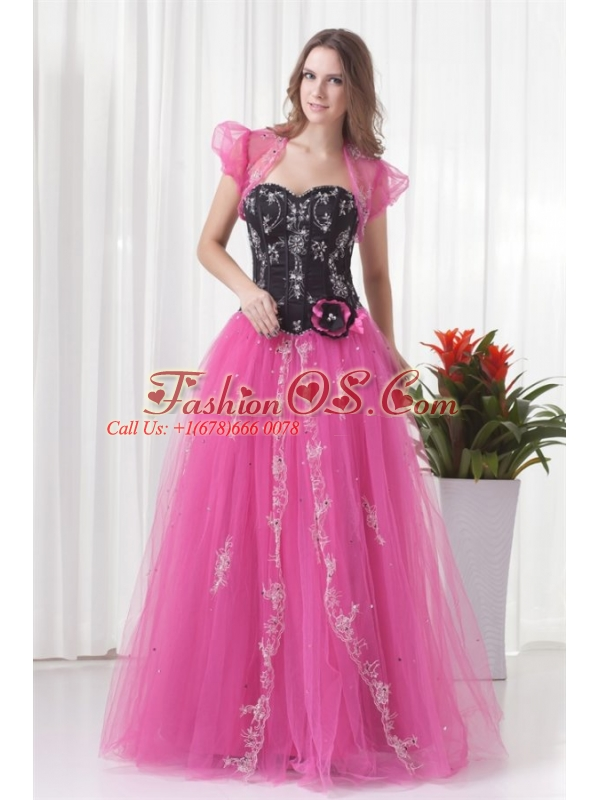 Princess Sweetheart Tulle Lace Up Beading Prom Dress in Pink