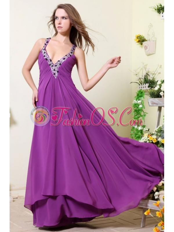 Sexy V-neck Empire Chiffon Beaded Decorate Prom Dress in Purple