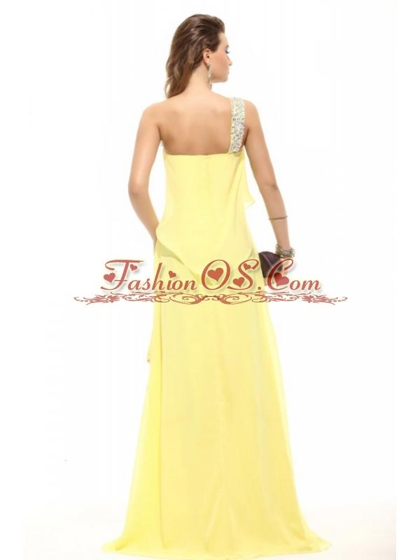Simple Column Light Yellow One Shoulder Beading High-low Chiffon